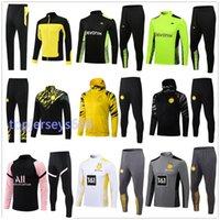 20 21 Hommes veste de survêtement de football Borussia Dortmund jacket 2020 2021 BVB HAALAND REUS survêtements de football  survetement foot soccer tracksuit jacket