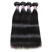 2021 Brazilian Human Hair Bundles Wholesale 4pcs Peruvian Straight Virgin Hair Weave Extensions for Women All Ages Natural Color Black