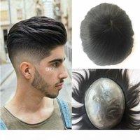 Haut männer toupee dünne haut pu toupee für männer ersatzsystem menschliches haar geradlinig haarstuft natürlichen schwarzen poly männer perücke hohe qualität