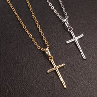Classic Silver Cross Pedant Necklaces Men Women Simple Gold Color Chain Metal Necklace Religious Ornament Party Jewelry Gift
