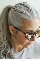 الصف 10A البرازيلي العذراء امرأة رمادي الشعر ذيل الحصان الأفرو الفضة رمادي الشعر البشري ذيل الحصان هيربيسي 1 قطعة مشط في الشعر 100 جرام أو 120 جرام
