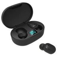TWS Bluetooth hörlurar E6S Smart Digital Display Trådlöst Sport Headset Batteri Prompt In-Ear Stereo Mini Headset