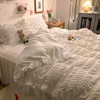 Korean Princs Style Lotus Leaf Pure White Seersucker Bed Skirt Four Piece Set Washed Cotton Lace Quilt Cover