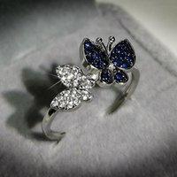 Charlinliol Luxo 925 Anéis de Prata Esterlina para Mulheres Borboleta Bonito Dois Tom Brilhante Zircão Casamentos de Pedra Anel Fine Jewelry