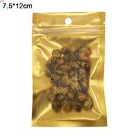 7.5x12cm auto sello oro mate claro plástico con cremallera bolsas paquete de paquetes de aluminio reclosible lámina con cremallera bolsa de embalaje con agujero colgar quatity