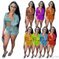 Women's Tracksuit Women 3 Piece Suit 2021 Fashion Solid Color High Elastic Satin Wave Edge Multi Needle Shirt Temperament Commutings Clothes