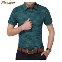 Мужские рубашки Nisexper Джентльменская рубашка Мода Кошки Социальные самосвал короткие MOUW Высокое Качество Stip Plus Размер M 5XL YNJV