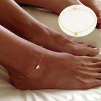 Ragazza moda semplice cuore braccialetto caviglia catena spiaggia sandalo sandalo sandalo gioielli squisiti c00021 smad