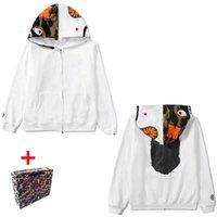 Apes Men's Hoodies women's cardigan hooded high quality jacket luminous camouflage star shark head Sweatshirts M-3XL Bring tote bag