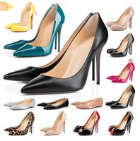 2021 Mode rote Unterseite High Heels Schuhe für Frauen Party Hochzeit Triple schwarze Nackte Gelb Rosa Glitter Spikes Spitzzehen Pumps Kleid Schuh 35-42