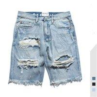 Mens Jeans été Nouvelle rue High Street Distracité Lavé Solide Mâle Denim Shorts Trou Jeans Taille Asiatique S-2XL