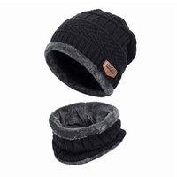 Cycling Caps & Masks Neck Warmer Knitted Hat Scarf Set Balaclava Fur Wool Lining Thick Warm Knit Beanies Winter Men Cap Casual 1
