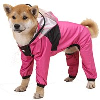 Dog Apparel Pet Waterproof Raincoat Jumpsuit Reflective Rain Hat Coat Hooded Snowproof Jackets Medium Large Outdoor Clothes Supplies