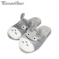 Totoro Cute Cat Cartoon Animal Vrouwen / Mannen Stellen Home Slipper Voor Indoor House Slaapkamer Flats Comfortabele Warme Winterschoenen 211020