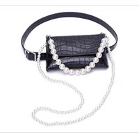 Belts Punk Style Women Accessories Waist Bag Shoulder Hand PU Leather Pearl Chain Multi-purpose Adjust Freely