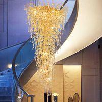 Modern Luxury Crystal Chandelier Romantic Aluminum Chandeliers Lights Fixture Long Stairway Hall Lobby Parlor Restaurant Home Hanging Lamp Diameter 120cm H250cm