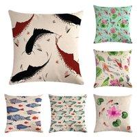 Cushion/Decorative Pillow Goldfish Cushion Cover Anchor Pattern Marine Ship Throw Case Decorative Pillowcase Cojines Almofadas