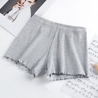Maternity Bottoms Ladies Women Summer Safety Pants Thread Ribbed Striped Seamless Stretchy Underpants Solid Color Ruffled Agaric Hem Boxer S