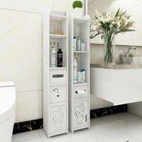 Bathroom Storage & Organization 12 Models Shelf Toilet Furniture Bath Cabinet White Wood Cupboard Tissue Cloth Rack Locker