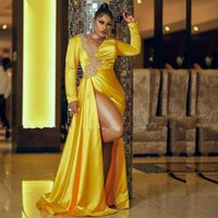 Sexy Yellow Satin Mermaid Prom party Dresses Long Sleeves Lace Beaded Front Split Formal Evening Occasion Gowns For African Women Vestidos De Novia
