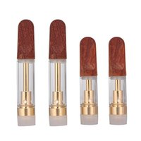 Wooden Tip Gold Color TH205 TH210 Atomizer 0.5ml 1.0ml Glass Tank Vape Cartridge 510 Thread Ceramic Coil for Delta 8 Oil Smoking Vapes