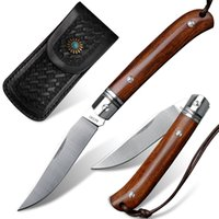 Wholesale M390 Steel Pocket Folding Knife Outdoor Camping Hunting Self-defense Survival EDC Tool Wooden Handle Multifunctional Fruit Knives Christmas Gift for Men