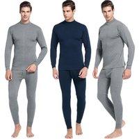 Herren Casual Thermal Unterwäsche Mitte Kragen Pure Color Anzug Hemd + Hosen 2 Stück Set Warme Dicke Plus Samtkleidung # VD12127