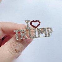 2024 도널드 트럼프 크리스탈 라인 석 브로치 금속 버튼 배지 천으로 핀 미국 대통령 캠페인 여성 남성 보석
