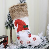 Party Supplies Knitted wool forester doll socks three-dimensional Christmas sockings gift bag NHF8938