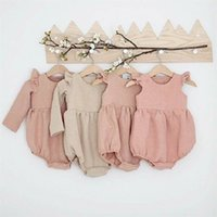 Autumn Baby Girl Clothes Cotton Long Sleeve Romper For Born Winter Boutiques Linen Playsuit Po Props Infant Outfit 210727