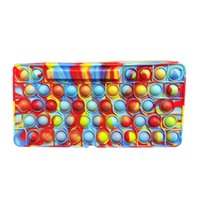 Fidget Toys pencil case Colorful Push Bubble keyboard Sensory Squishy Stress Reliever Autism Needs Anti-stress Rainbow Adult Toy For Children-TOPN910
