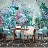Wallpapers Milofi Custom 3D Wallpaper Mural Tropical Light Luxury Plant Leaves Modern Minimalist Sofa Background Wall Decoration