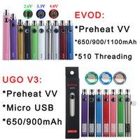 Evod Förvärm VV förångare Batteri 1100 900 650MAH Variabel spänning E Cigarett 510 Trådväska PEN E-CIG USB-laddare EGO-T MT3 CE4 CE5