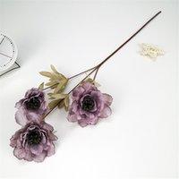 3 رؤساء الفاوانيا الحرير الاصطناعي خمر الفاوانيا محاكاة زهرة 63 سنتيمتر في الطول الزهور وهمية للزفاف diy ديكور المنزل GGA4239