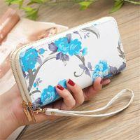 Wallets Women Leather Wallet Double Zipper Purse Ladies Card Holder Clutch Phone Handbag