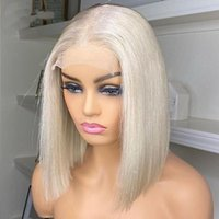 Synthetic Wigs 60# Ash White Blonde Short Straight Lace Front Bob Middle Part For Women Natural Hairline