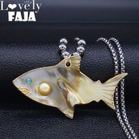 Pendant Necklaces 2021 Fashion Fish Big Shell Stainless Stee Necklace Chain For Women Yellow Color Jewelry Gargantilla N19218