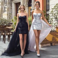 2021 Sequins Sheath Short Evening Dress Black Long Train Prom Gown Jewel Dresses Formal Party Gowns