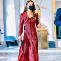Casual Dresses Kate Middleton Spring Autumn High Quality Women's Fashion Party Elegant Vintage Designer Gentlewoman Plaid Midi Dress
