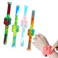 Arco iris silicona burbuja pulsera hoyuelos pulsera fidget sensory juguete dedo descompresión juego estrés relevista juguetes educativos