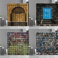 Cortinas de parede de tijolo de pedra retro cortinas vintage porta de madeira rocha passagem mágica padrão banheiro cortina impermeável casa decoração conjunto