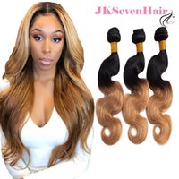 Ombre 1B-27 Brazilian Virgin Remy Human Hair Extensions 3 Bundles Deal Peruvian Malaysian Indian Body Wave Two Tone Color Weave Double Wefts Factory Price
