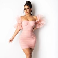 Casual Dresses Summer Women Ruffles Sleeve Dress Off The Shoulder Backless Female Party Club Vestidos