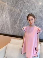 Mais novo de alta qualidade doce rosa bebê menina vestido 2021 verão crianças meninas princesa vestido crianças roupas festa de aniversário