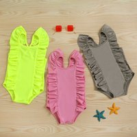 Children ruffle Flying sleeve One-Pieces Swimwear baby girls one-piece Swimsuit summer fashion Boutique Kids Bikinis Z3783