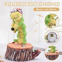Fidget Oyuncaklar Peluş Oyuncak Caterpillars Dans Elektrikli Dolması Bebek Saksafon Hayvanlar Peluş Oyna Noel Hediyesi Sevimli Hayvan Kutusu Sürpriz Toptan Açık