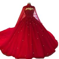2021 Sexy Luxurious Dark Red Ball Gown Quinceanera Dresses Sweetheart Lace Appliques Crystal Beads With Cape Chapel Train Tulle Party Prom Evening Gowns Plus Size