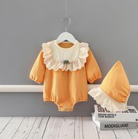 2020 Spring Fall Baby & Kids Clothing climbing Orange Long Sleeve With Ruffles Design Romper+Hat infant new born rompers 0-2T