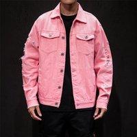 Sonbahar Delik Denim Ceket Erkekler Yırtık Kovboy Kot Bombacı Ceketler Ceket Erkek Slim Fit Katı Rahat Mont Pamuk Kırmızı Artı Boyutu 5XL