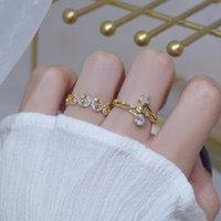 Gioielli delicati 14K Real Gold Gold Crystal Crystal Star anelli per donne Stile semplice stile cubico zircone anelli di fidanzamento fiore